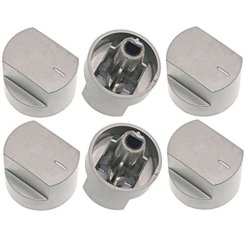 SPARES2GO Control Knob Switch & Shaft for Stoves 61EDO 61EHDO BL ST WH Oven Cooker Hob (Silver, Pack of 6)