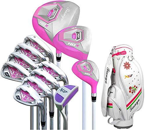 POSMA TY-XD7W Damen Golfschläger Komplettset 12 Stück Edelstahl Schaft, Damen Club, Anfänger, komplettes Set von Übungsstangen, mit Golftasche