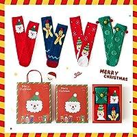 クリスマスソックス、4ペアのお祝いクリスマスソックス、クリスマスノベルティクリスマスソックスサンタコットンソックスファミリー子供用ウォームソックス-Eセクション_ワンサイズ