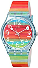 Rainbow-hued watch featuring round dial with contrast Arabic hour markers and circle-tipped baton hands 33 mm plastic case with plastic dial window Quartz movement with analog display Plastic band with buckle closure Water resistant to 30 m (99 ft): ...