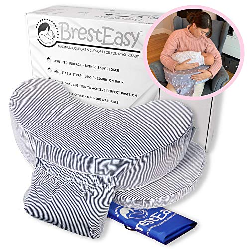BrestEasy™ - Breastfeeding Maternity Firm Support Nursing Pillow with Propping Wedge for Adjustable Support incl Travel Bag – Soft Washable 100% Cotton Cover- Classic Pin