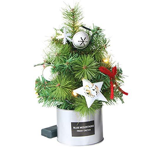 Weihnachten Neuheit Dekoration Weihnachtsbaum Mini-Verschlüsselung Kiefernnadel Fichte Weihnachtsbaum mit LED-Leuchten Ornament Weihnachtstag Desktop Requisiten Set Verzierungen 30cm grün Geeignet for