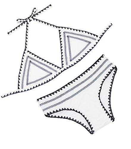 FLORAVOGUE Neckholder Crochet-Trim Teeny Triangle Bikini Set weiß klein