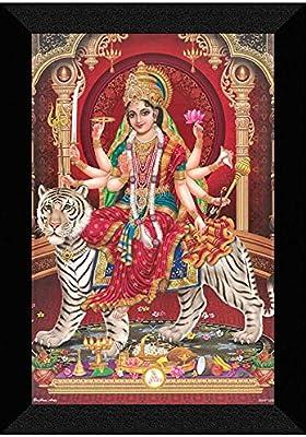 SAF 'Durga maa UV Textured Framed Painting 14 inch X 20 inch SANFM163