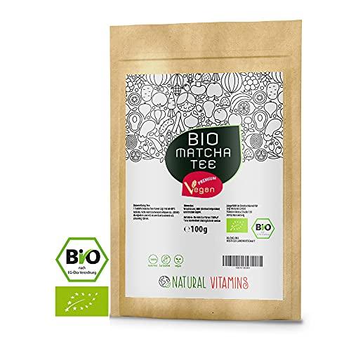 NATURAL VITAMINS® Bio Matcha aus Japan 100g I Matcha Tee Pulver fein gemahlen I Laborgeprüft,...