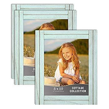 Icona Bay 8x10  20x25 cm  Picture Frames  Eggshell Blue 3 Pack  Rustic Picture Frame Set Natural Real Wood Frames Cottage Collection