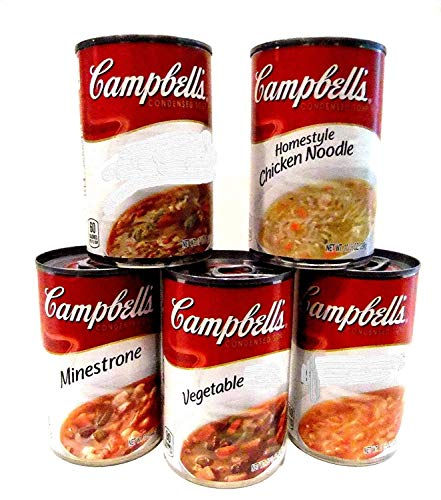 Campbell's Soup Variety 10 Pack + FREE 24 pack of Plastic Spoons. 2 cans each of: TOMATO, MINESTRONE, HOMESTYLE CHICKEN NOODLE, VEGETABLE, FRENCH ONION.