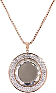 Bevilles Rose Stainless Steel Crystal Necklace Pendant