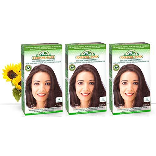 Corpore Sano Pack x3 Unidades Tinte Castaño 4 Permanente 140ml - Tinte de coloración sin amoníaco, resorcinol ni parabenos. Los champús naturales de Henna poténcia la durabilidad del color