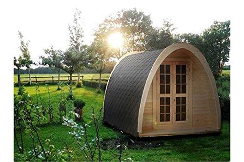 Camping Pod–Summer House–Grill–Teakholz–Hütte Play House–4,8m lang x 2,32m breit. Kommt mit; Bitumen gefliesten dach, zwei interne Zimmer: Schlafzimmer mit Holz Doppelbett & Wohnzimmer mit zwei Puffs, Tisch & Bank; Eine kleine Terrasse 0,