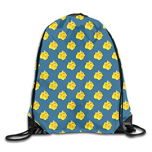 Drawstring Bag Sport Gym Sackpack-Canna Lily Flower Pattern On Blue Backdrop Blooming Foliage,Drawstring backpack Mouth Gym Sack Rucksack Shoulder Bags For Men & Women