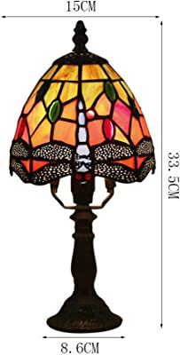 WMING 6 Pouces Tiffany Lampe de Table Chambre de Nuit Lampe de Chevet rétro Creative Learning Restaurant Bar café décoration Lampe de Table Abat-Jour en Verre teinté E27