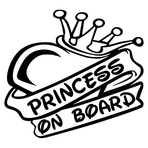 Personalised Name Stickers,Car Decals,Funny Car st 15.2 * 14cm Hermosa Princesa de diseño a Bordo Elegante Coche Estilo calcomanía Advertencia Adhesivo Negro/Plata Personalised Name Stickers,Car DEC