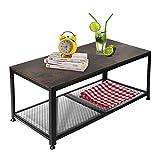 YOUNIS - Mesa de café estilo vintage, mesa de salón, mesa de salón, mesa de TV de madera con gran estante/estante, mesa de diseño industrial
