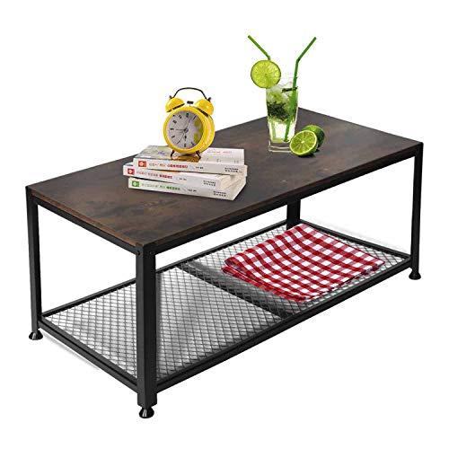 YOUNIS - Tavolino da salotto per divano, con mensola portaoggetti, tavolino da caffè, colore: marrone, con struttura in metallo, facile da montare