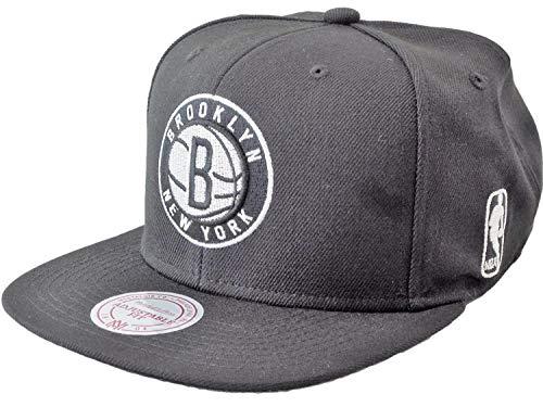 Mitchell & Ness NBA Flat Visor Snapback - Black & White - Brooklyn Nets, black