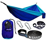 FLASH SALE! Chill Gorilla Pro Double Camping Hammock With Tree Straps. Blue. 4.7 Sq Ft Bigger Than Eno. Lightweight Weather Resistant RipStop Nylon. Perfect for Travel Hiking. Supports 661 lbs.