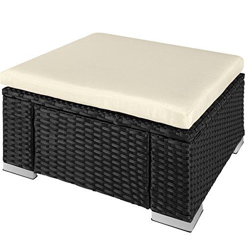 TecTake 800768 Tabouret en Résine Tressée, Tabouret Cube avec Coussin, Repose-Pied d'Extérieur pour Jardin Patio Terrasse - diverses Couleurs au Choix - (Noir | No. 403402)