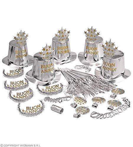 Widmann 8006W - Party-Set Buon Anno in Silber, 5 Partyhüten, 5 Kronen, 5 Partytrompeten, 5 Tröten u. 1 Pack Luftschlangen, italienischer Text, Frohes neues Jahr mit Glitzer u. Lametta
