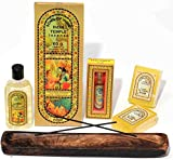 Song of India - India Temple Gift Set #3, India Temple Herbal Massage Oil, Incense Sticks, Scented Perume Oil, Herbal Handmade Soap Bars & Handmade Burnt Mango Wood Incense Burner