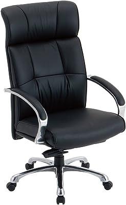 ナカバヤシ エグゼクティブチェア オフィスチェア 本革張り ハイバック ブラック RZE-A201BK