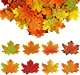 FEIGO 400 Piezas Hojas de Arce Otoño Papeles Artificiales Multicolor Decoración para Fiesta Escaparate Hojas de Seda decoración de la Boda del jardín de 8 Colores