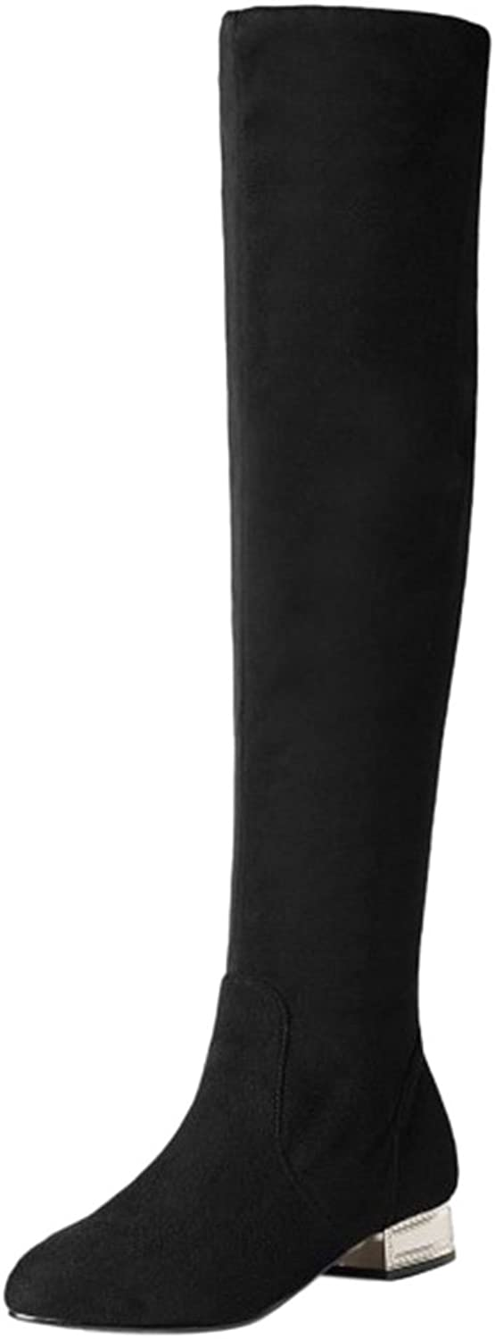 CarziCuzin Women Knee High Boots Fshion Party shoes Pull-on Low Heel