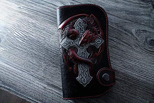 Dragon and Celtic Cross Wallet, Men's leather Bifold Long Wallet, Custom Wallet, best wallet, Birthday Gifts, Men gift, favorite gift, meme, Hand-Carved, Hand-Painted, Leather Carving Wallet