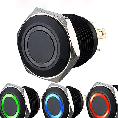 Interruptor de botón iluminado con anillo de color negro RGB de 16 mm (ánodo y cátodo común) (color: ánodo común, voltaje: voltaje LED 6 V)