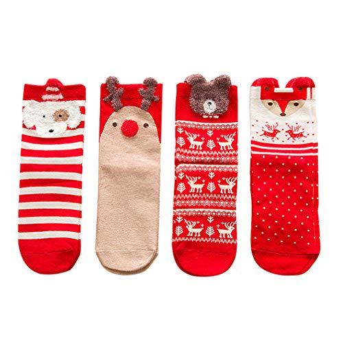 NUOBESTY 4 Paare Damen Weihnachten Socken Weihnachtssocken Wintersocken Baumwollsocken Hüttensocken Kuschelsocken für Frauen Mädchen