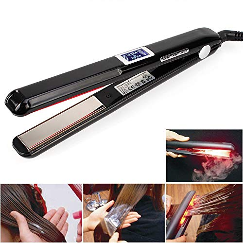 Hair Care Ultrasonic Infrared Hair Straightener, Best Professional Cold Flat Iron Hair Treament Styler Therapy Conditioning Tool Recovers the Damaged Hair Ultrasonic Infrared Hair Care Iron #Black