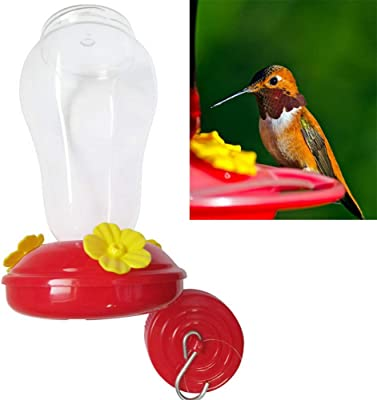 Sprinkle Bird Feeders for Outside Wide Mouth Waist Hummingbird Feeder Nectar Patio Yard Window Bird Gift Drinker Bird Feed Red Glass Top Fill Feeder Large
