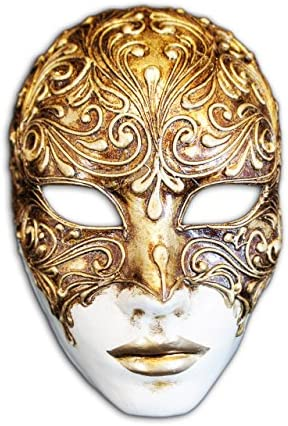 Venetian Full Face Mask Volto Mystery Gold product image