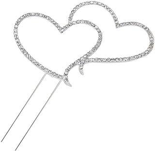 kuchen deko hochzeit Foxnovo Zarte funkelnde Crystal Strasssteine Double Love Heart Shape Hochzeitstorte Topper Dekoration - Größe L Silber