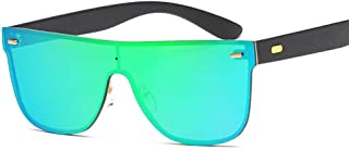 SGJFZD Men Women Siamese Sunglasses Polarized Light Fashion New Design PC Metal Sunscreen UV400 Full Frame (Color : Gold+Green)