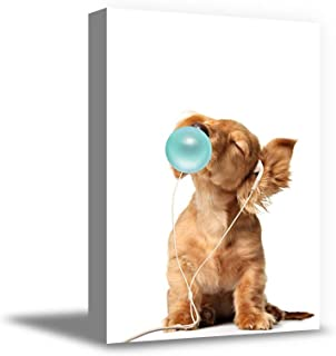 Awkward Styles Animal Blowing Blue Bubble Gum Canvas Animal Canvas Blue Bubble Gum Framed Decor Funny Decor Gifts Kids Decor Ready to Hang Dog and Blue Gum 19