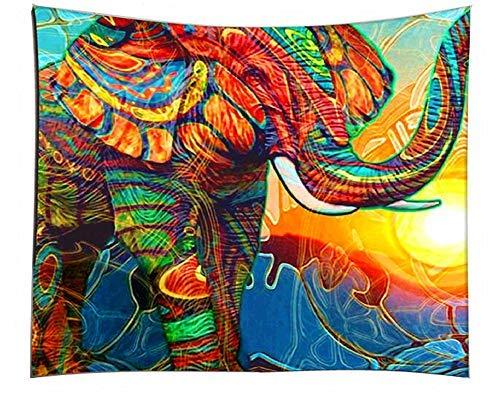 LIGICKY Mandala Olifant Tapestry Muur Opknoping, Hippie Boheemse Goede Fortune Kleurrijke Olifant Psychedelische Kunst…