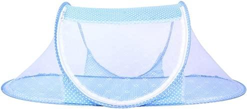 CHRISLZ Ultra Thin Summer Mosquito Net for Children Portable Folding Baby Travel Bed Crib Baby Cots Newborn Foldable Crib (Blue-Thin)