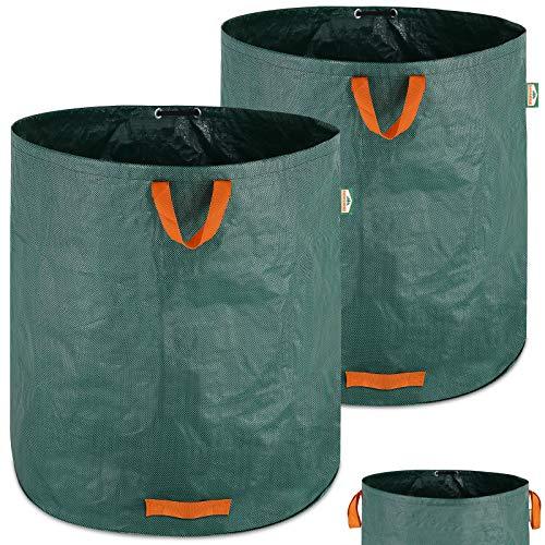 Gartenabfallsack 2 x 500L = 1000L Gartensack mit Stabilisierungsring Laubsack wasserabweisend Gartensäcke faltbar