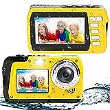Wasserdichte Kamera Unterwasserkamera 48MP 2.7K Full HD Digitalkamera Wasserdichte 16X Digital Zoom Dual Screens Wasserdichter Camcorder zum Schnorcheln