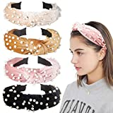 Allucho 4 Pack Velvet Wide Headbands Knot Turban Hairband Vintage Head wrap with Faux Pearl Elastic Hair Hoops Fashion...