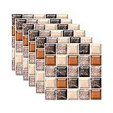 YWLINK 6PC Etiqueta De La Pared Pegatinas De Azulejos De SimulacióN 3D DecoracióN del Hogar Retro PelíCula Impermeable Pegatinas De Piso De BañO Pegatinas De Pared Vinilo Decorativo 20x20CM