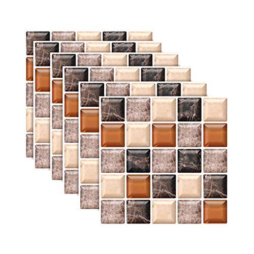 XGao Wall Stickers 6pcs 3D Tile Sticker Mosaic Pattern Wallpaper Waterproof Removable Self-Adhesive Background PVC Decals Easy Peel and Stick Not Hurt Wall for Home Bedroom Living Room (C)