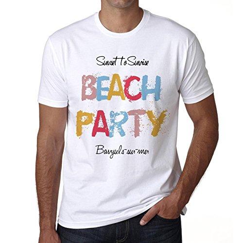 Banyuls-Sur-mer, Beach Party, Fiesta en la Playa, Camiseta para Las Hombres, Manga Corta, Cuello Redondo, Blanco