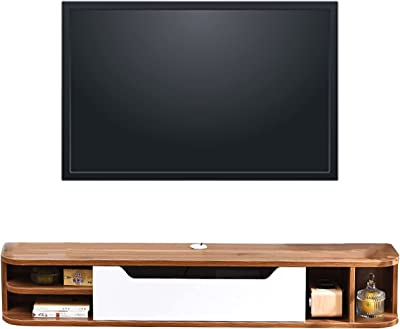 51.1-inch Wooden TV Cabinet, Living Room Set-top Box Cabinet, Small Vertical Entertainment Center Wall Cabinet (Color : A)