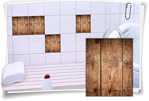 Medianlux Fliesenaufkleber Fliesen Aufkleber Holz Baum Kiefer Fichte Rustikal Bad WC Küche Kachel Imitat Deko Holzimitat, 4 Stück, 20x25cm