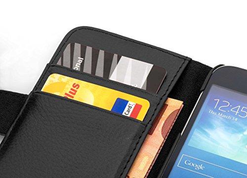 Cadorabo Hülle für Huawei Ascend Y330 - Hülle in Oxid SCHWARZ – Handyhülle mit Kartenfach aus struktriertem Kunstleder - Case Cover Schutzhülle Etui Tasche Book Klapp Style - 2