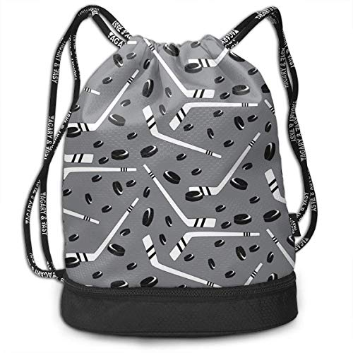 KLing Polyester Drawstring Bag Theft Proof Water Resistant Large Size Shoulder Backpack Large Capacity for Basketball, Baseball, Sports & Workout Gear (Grey Hockey)