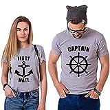 Il Capitano e Il Suo Primo Assistente Couple Coppia T-Shirt,Maglietta a Maniche Corte in Cotone,Idea...