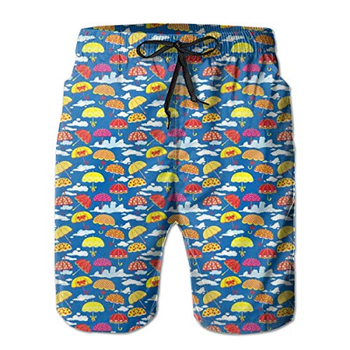 Men's Big And Tall Swim Trunks Beachwear Drawstring Summer Holiday,Pattern with Colorful Florally Ornamented Umbrellas On Sky Background with Clouds,3D Print Shorts Pants